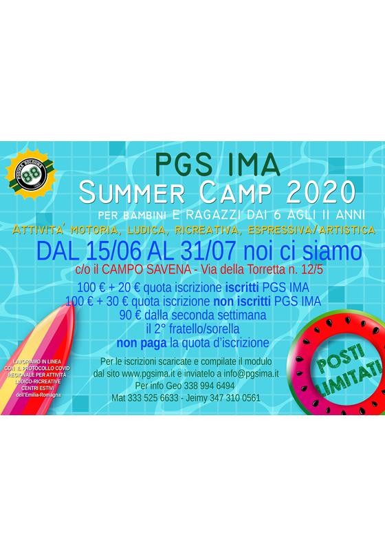 Realizzazione Grafica e Stampa Volantino e locandina Campo estivo 2020 - Summer Camp Polisportiva PGS IMA