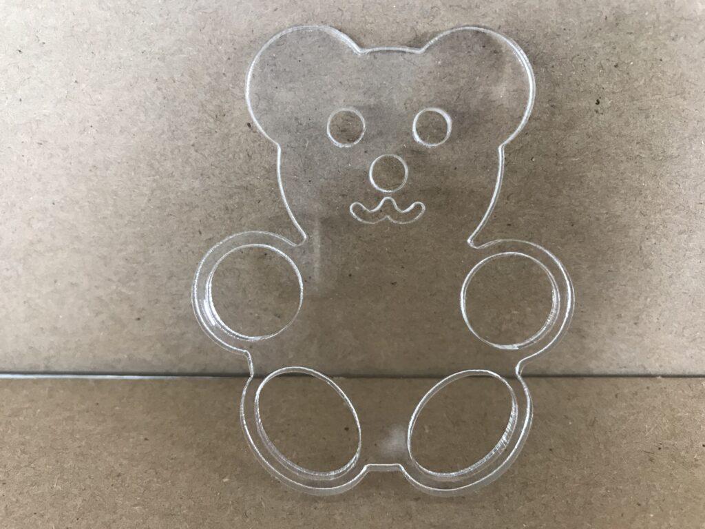 Orsetto taglio laser - Bomboniera plexiglass